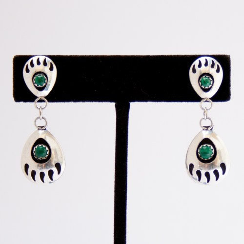 Native American Zuni Malachite Bear Paw Earrings