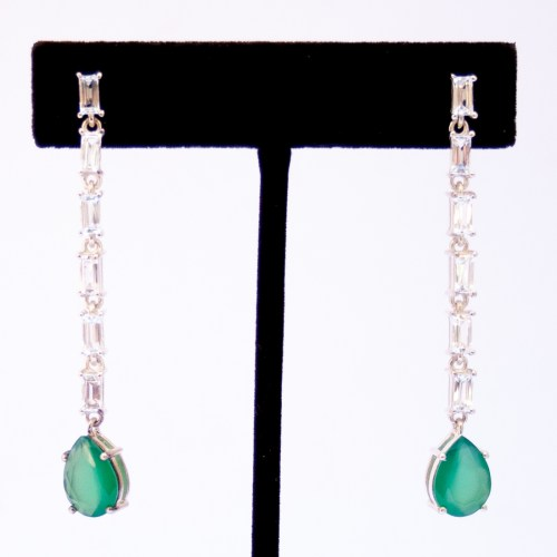 Green Agate Clear Quartz Drop Earrings