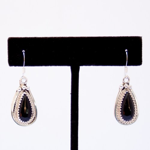 Native American Small Jet Teardrop Earrings