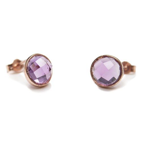Gold Faceted Amethyst Stud Earrings