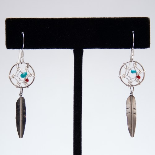 Small Red Coral Turquoise Dream Catcher Drop Earrings