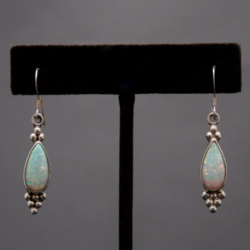 Native American Navajo White Opal Drop Earrings