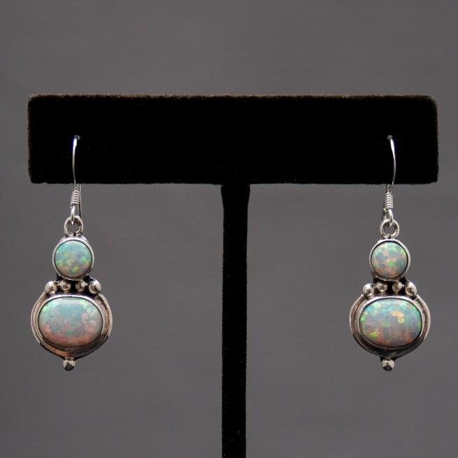 Small Double White Opal Drop Earrings