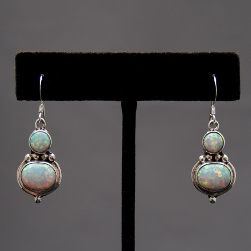 Small Double White Opal Drop Earrings