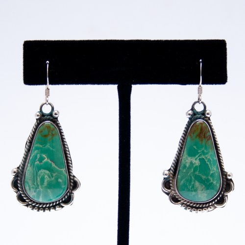 Richard Jim Green Turquoise Drop Earrings