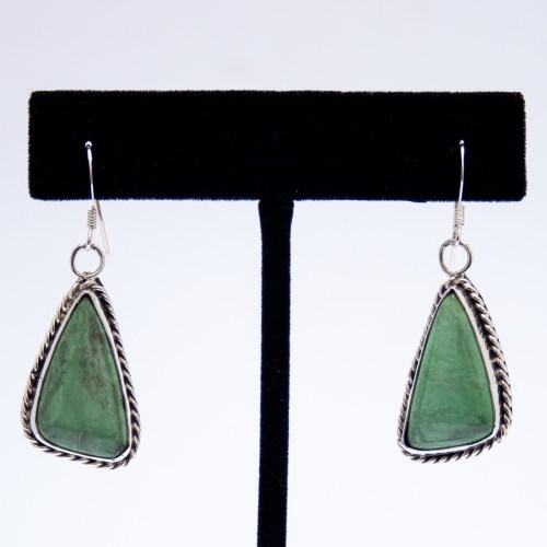 Navajo Green Turquoise Triangular Drop Earrings