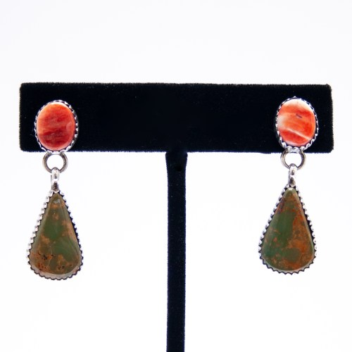Spondylus Green Turquoise Navajo Drop Earrings