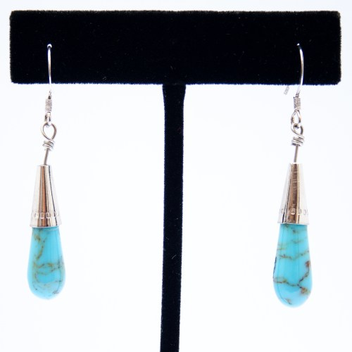 Native American Turquoise Teardrop Earrings
