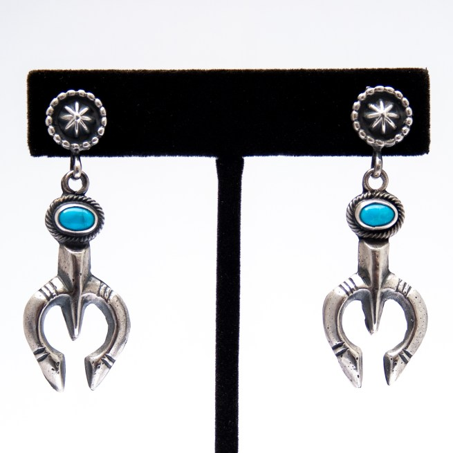 Native American Silver Squash Blossom Turquoise Earrings