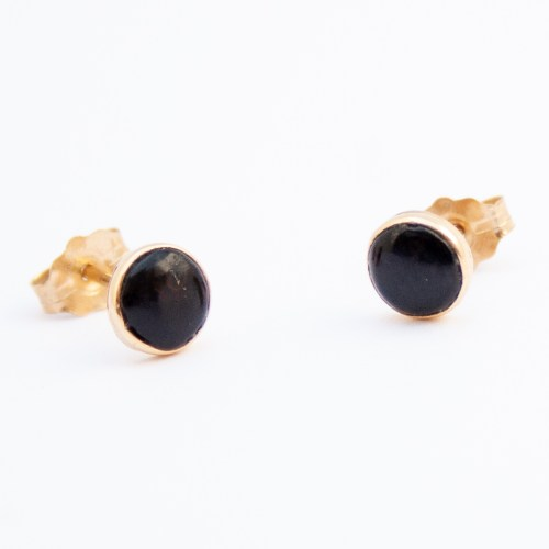 14K Gold Native American Jet Stud Earrings
