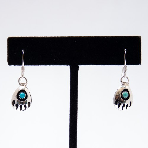 Native American Bear Paw Turquoise Hook Earrings
