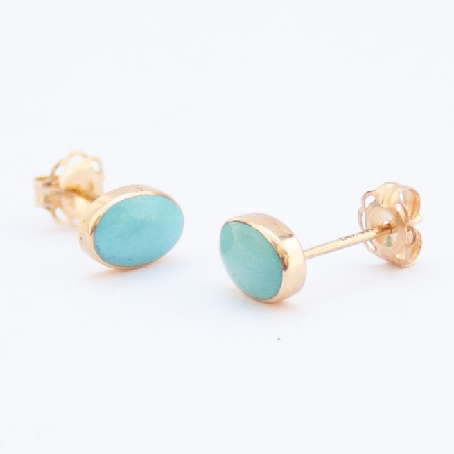 14K Gold Small Oval Turquoise Zuni Stud Earrings