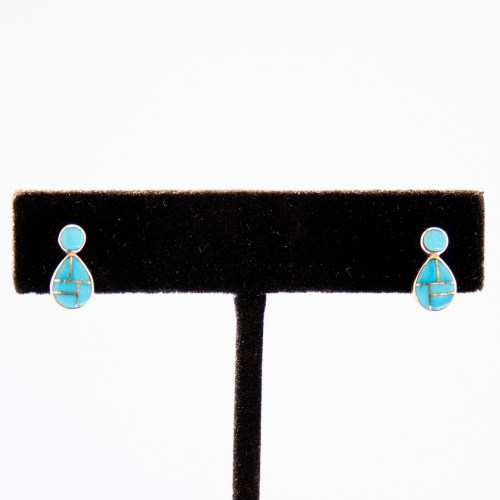 14K Gold Turquoise Inlay Zuni Drop Earrings