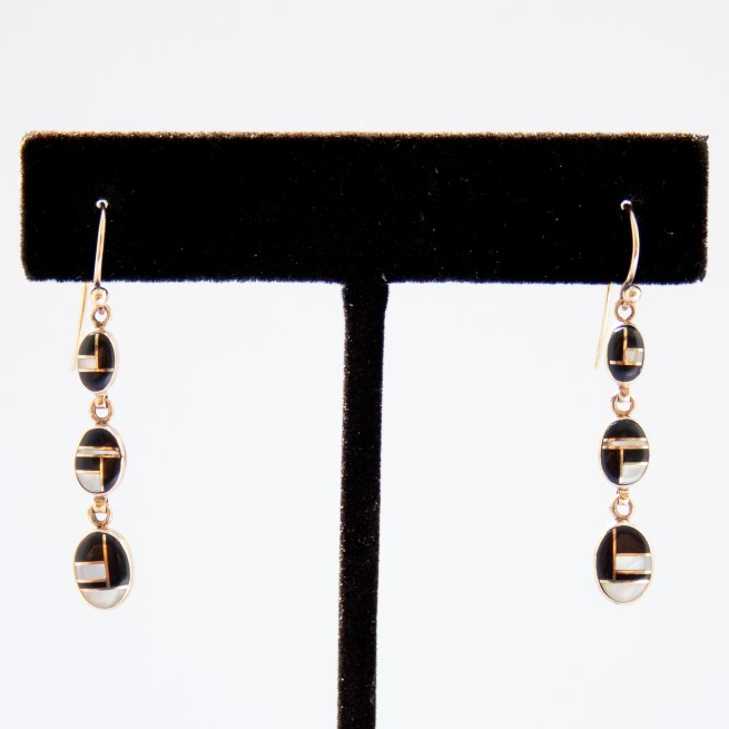 14K Gold Zuni Black White Earrings