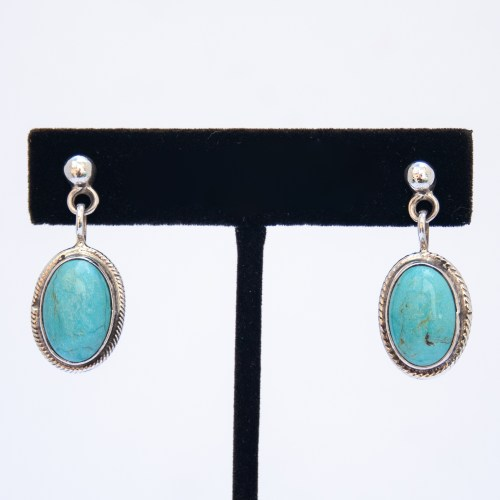 Silver Stud Oval Turquoise Drop Earrings