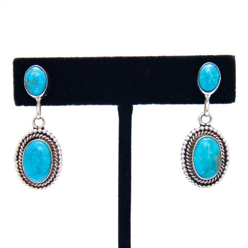 Double Turquoise Drop Earrings