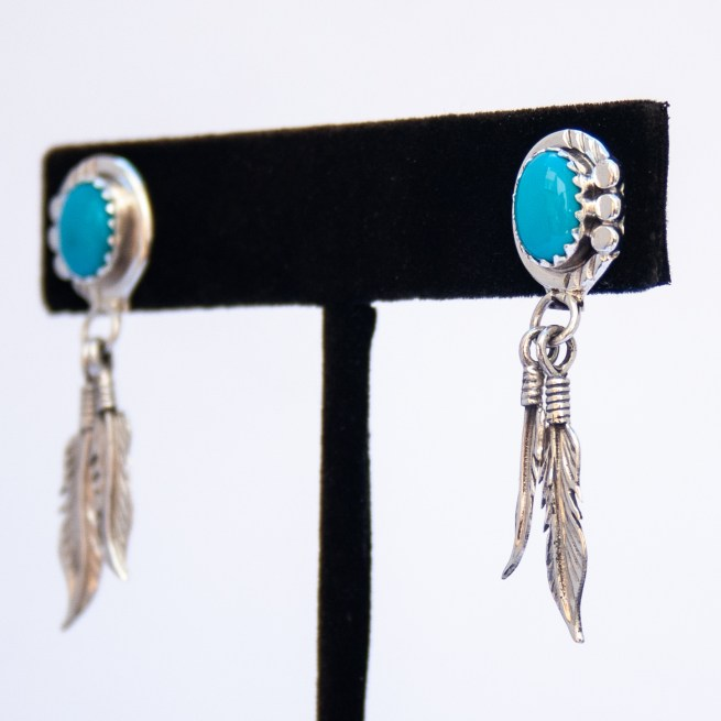 Turquoise Dot Tip Silver Feather Drop Earrings