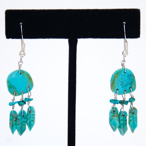 Turquoise Spirit Shield Drop Earrings