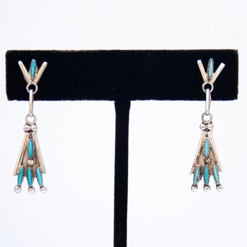 Small Turquoise Needlepoint Teepee Drop Earrings