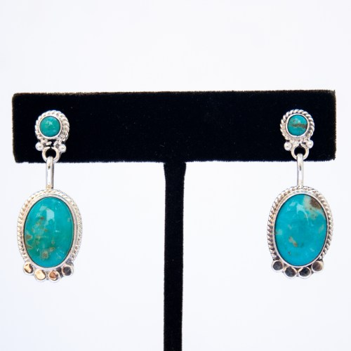 Turquoise Stud Turquoise Drop Earrings