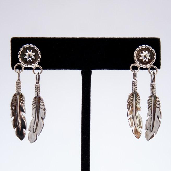 Plain Silver Double Feather Medicine Shield Drop Earrings