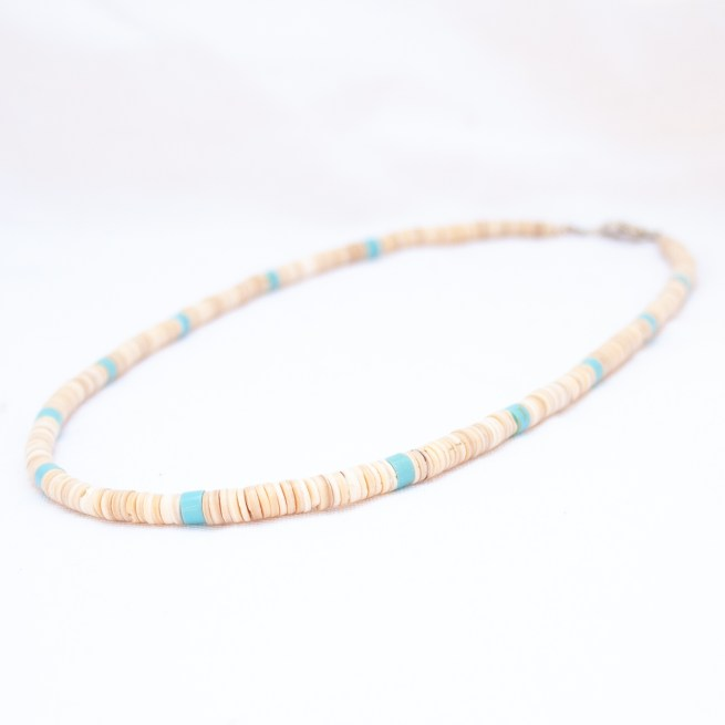 Delbert Crespin Blue White Beaded Necklace