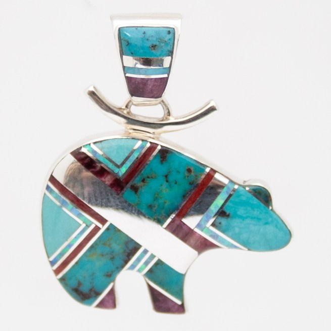 Cathy Webster Inlay Bear Pendant