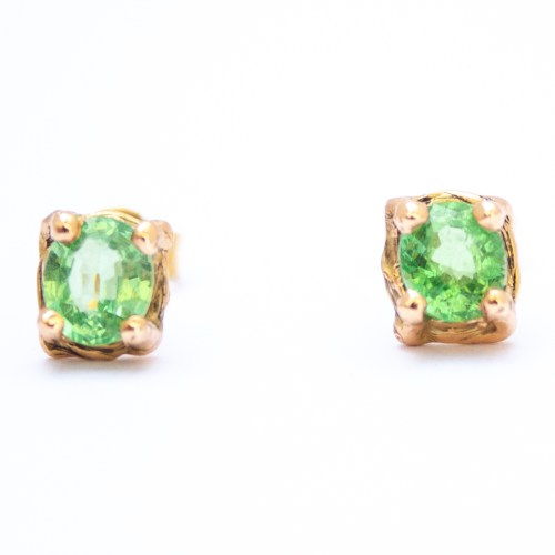 18K Gold Green Tsavorite Stud Earrings
