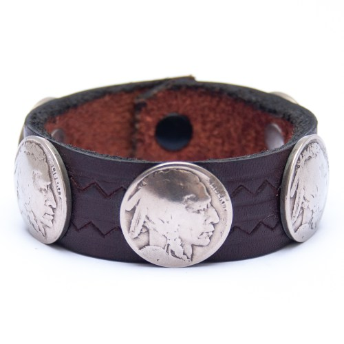 Vintage Indian Head Nickel Coin Dark Leather Bracelet