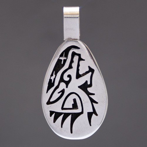 Daren Silas Sterling Silver Hopi Wolf Pendant