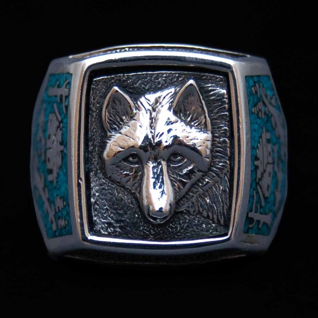 Silver Turquoise Wolf Signet Ring