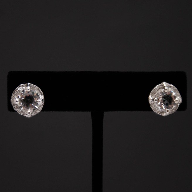 Faceted Clear Quartz Silver Stud Earrings