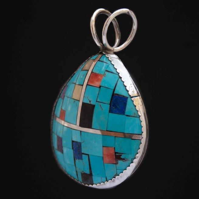 Large Turquoise Mosaic Zuni Pendant