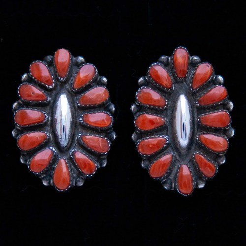 Maryann Felix Chavez Zuni Coral Stud Earrings