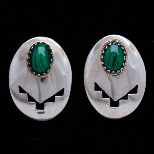 Native American Malachite Silver Stud Earrings