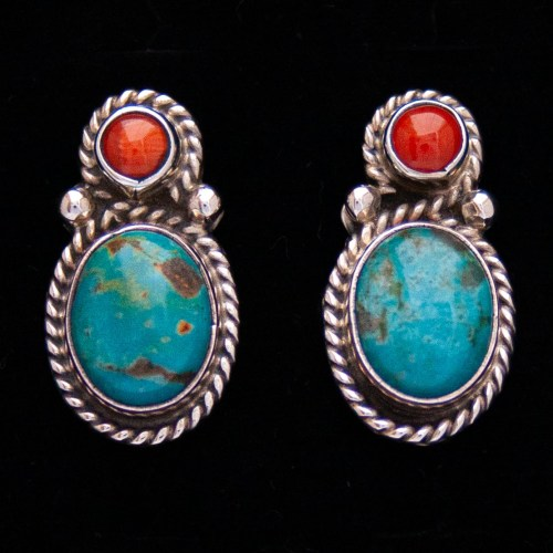 Native American Turquoise Coral Silver Stud Earrings