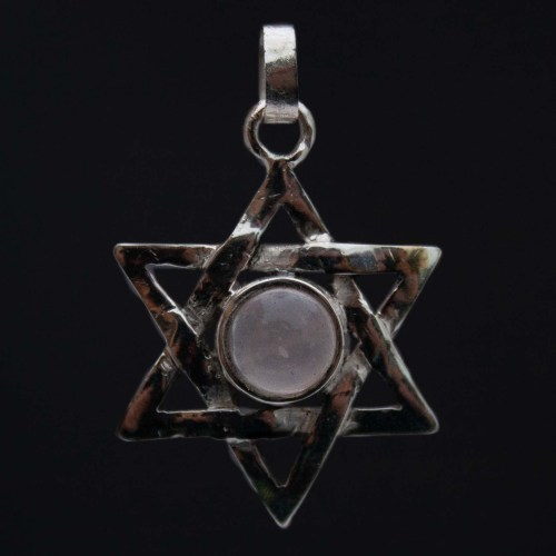 Rose Quartz Star of David Silver Pendant