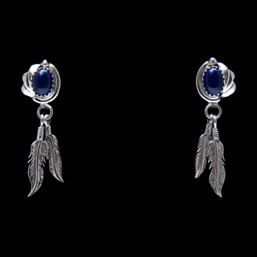 Lapis Lazuli Silver Feather Earrings