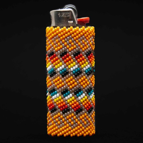 Large Orange Beaded Lighter Case