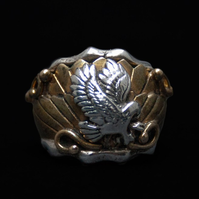 silver-brass-eagle-ring