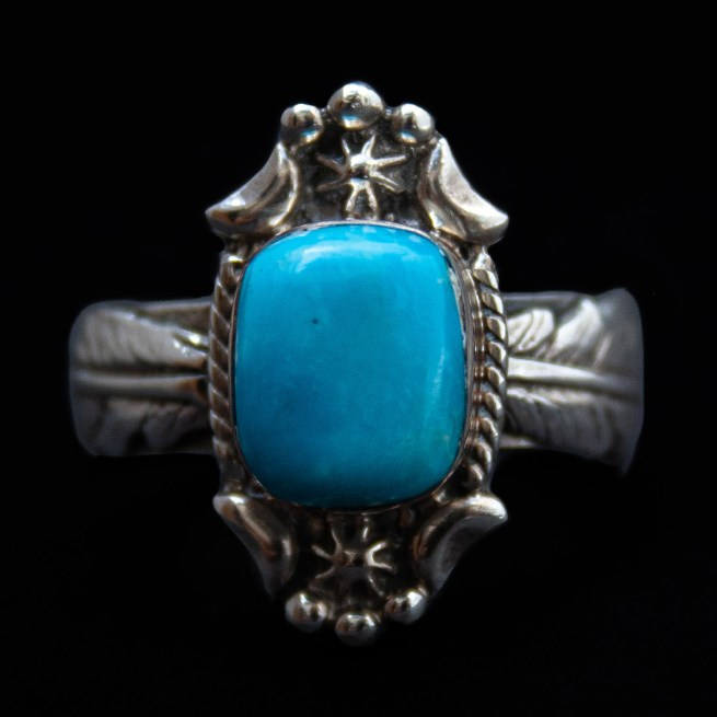 Silver Feather Band Turquoise Ring