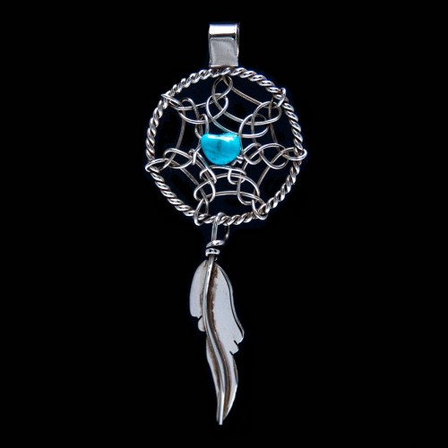 Silver Turquoise Dream Catcher Pendant