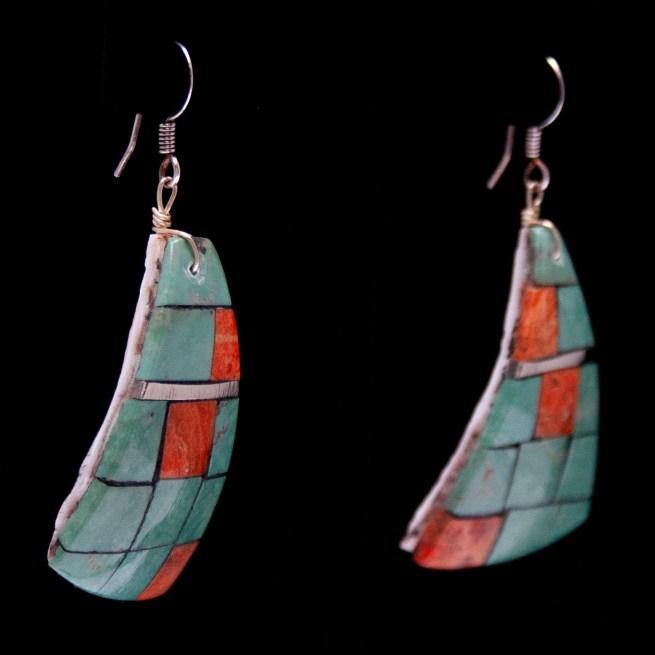 Turquoise Spondylus Green Orange Drop Earrings