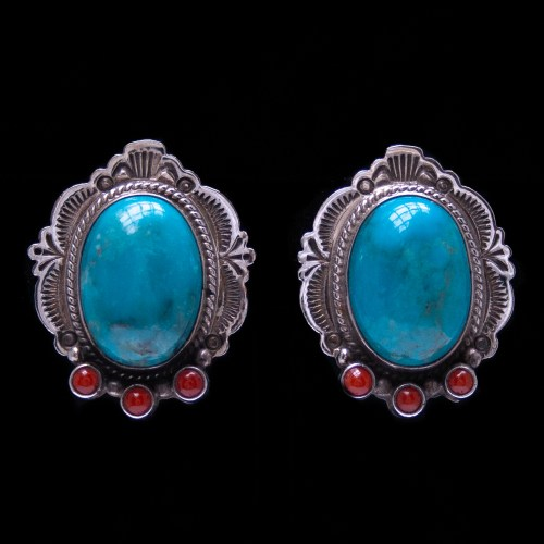Arnold Maloney Turquoise Coral Clip-On Earrings
