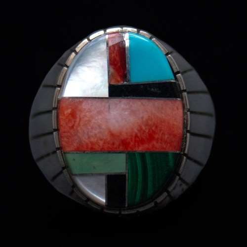 Multicolour Inlay Zuni Mens Ring