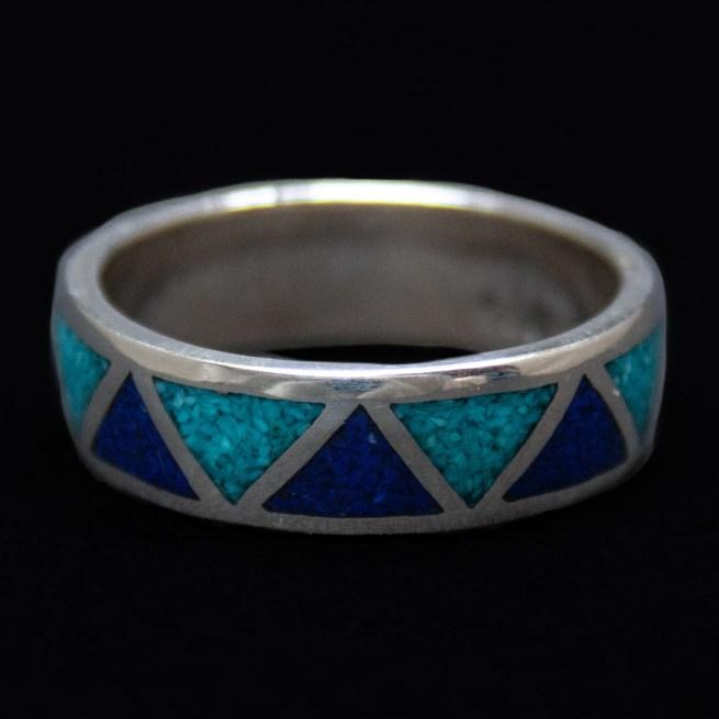 Turquoise Lapis Zigzag Ring
