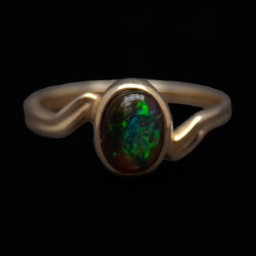 Gold Plated Mexican Fire Opal Ring