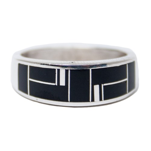Zuni Inlay Black White Ring
