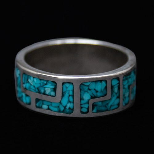 Zuni Turquoise Chip Inlay Silver Ring