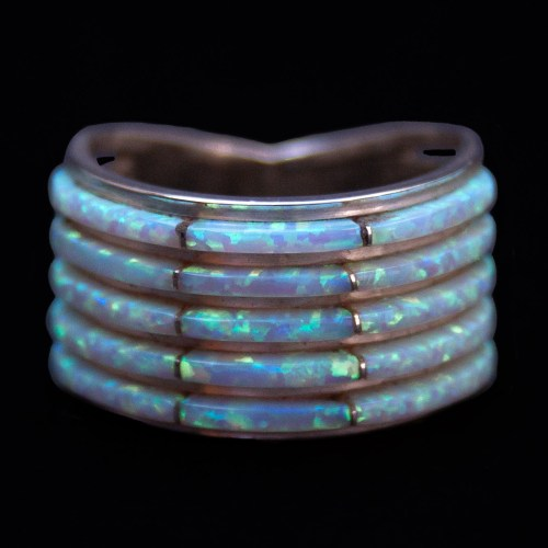 Five Row White Opal Ring